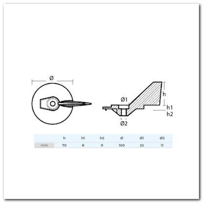anodo aleta yamaha 1119 dimensiones