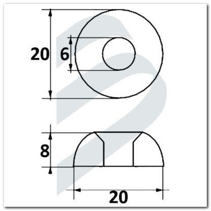 Ánodo MERCURY-MERCRUISER arandela 2-4 HP dimensiones