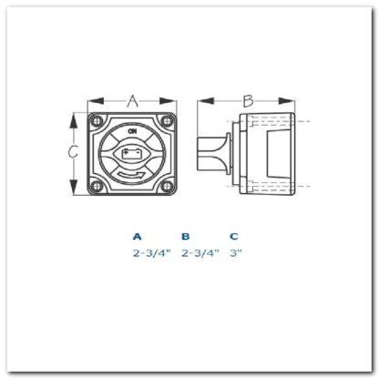 Interruptor botón dos baterías dimensiones
